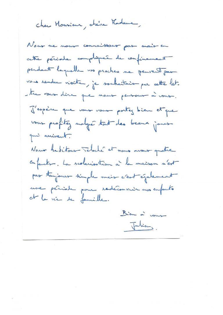 Lettre de Julien Mary