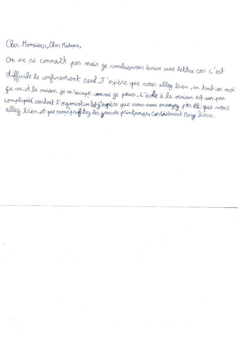 Lettre de Mary Pierre